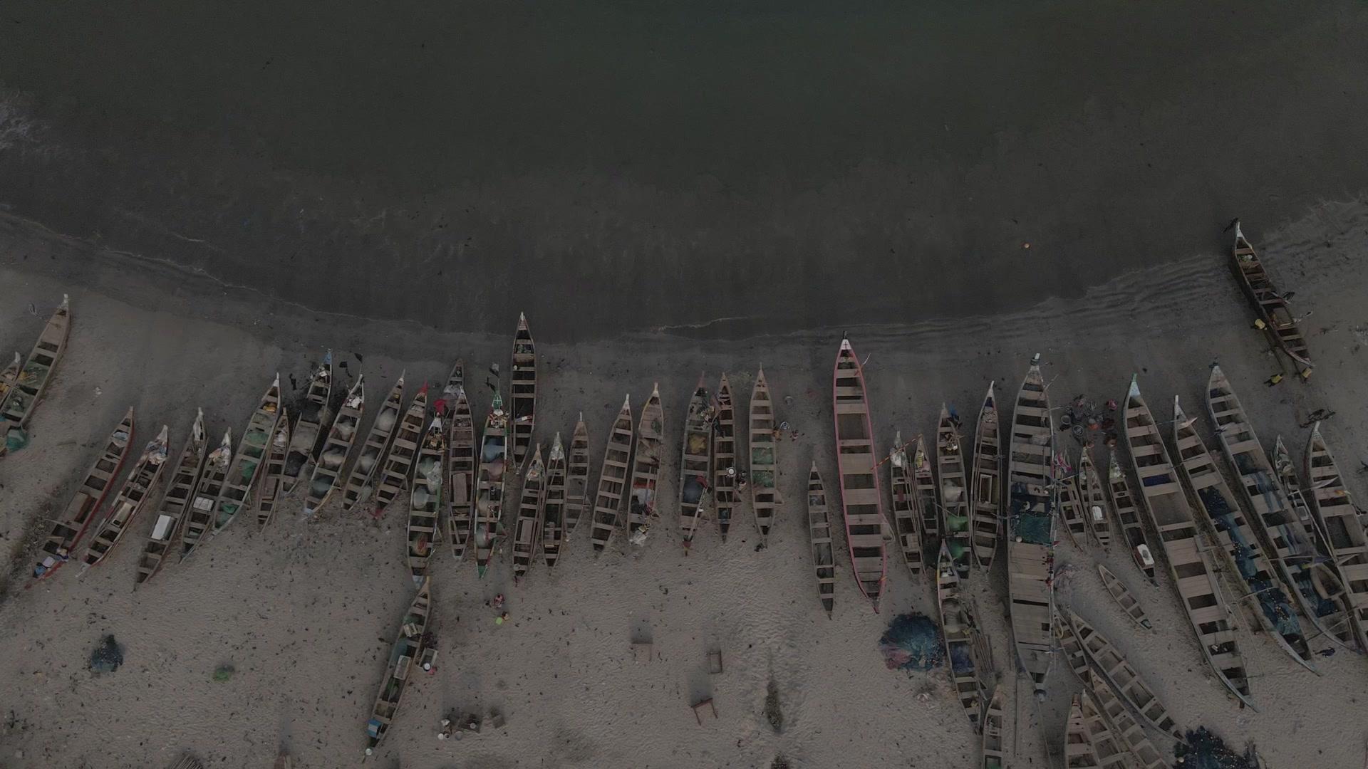 Fishermen Boats Ocean Beaches Senya Bereku