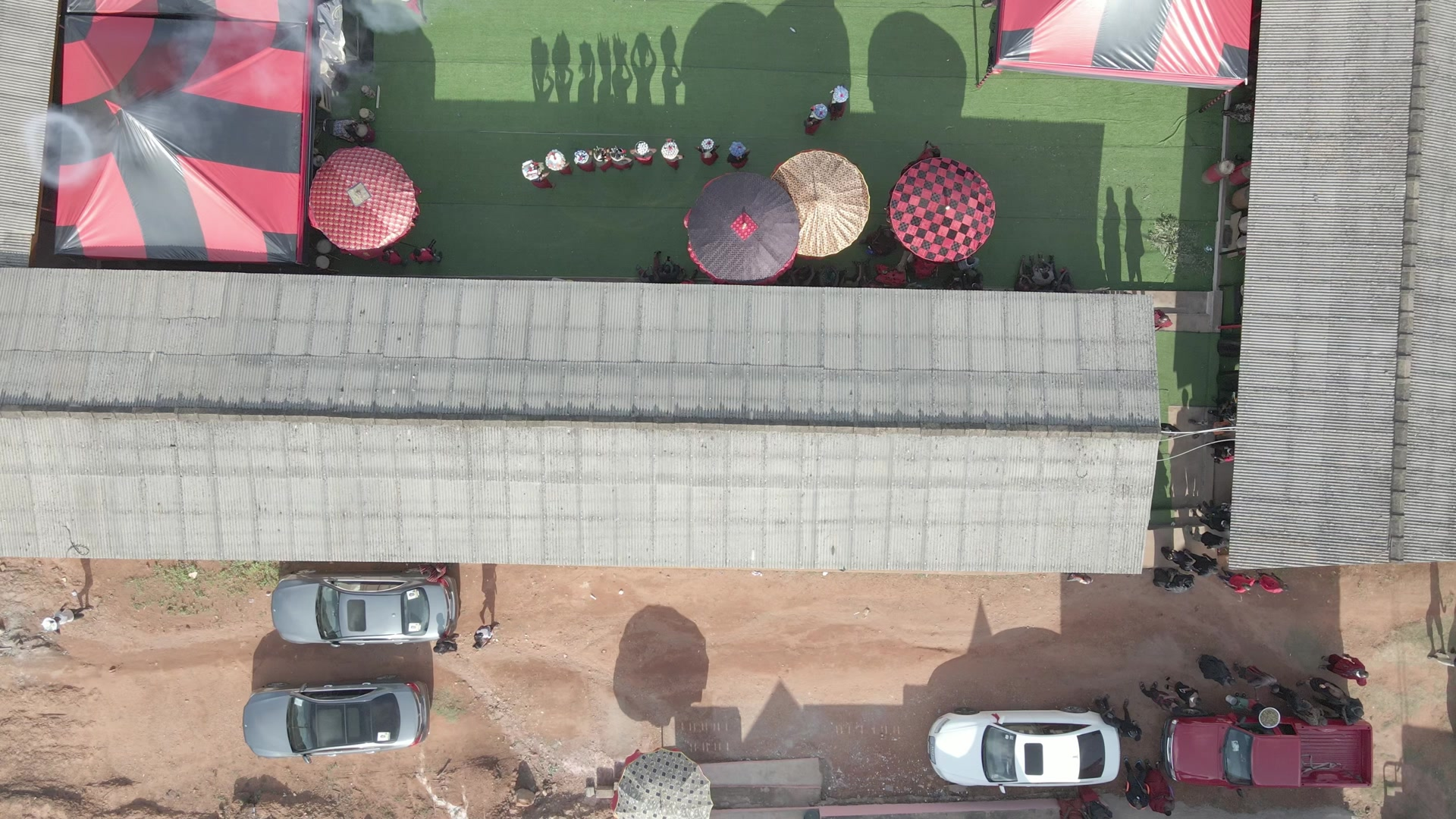 Funeral Ground Top Down View Pan