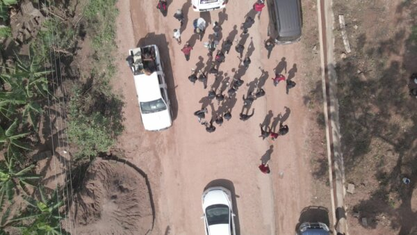 Funeral Procession Hearse Paulbearers Stroll Top Down View