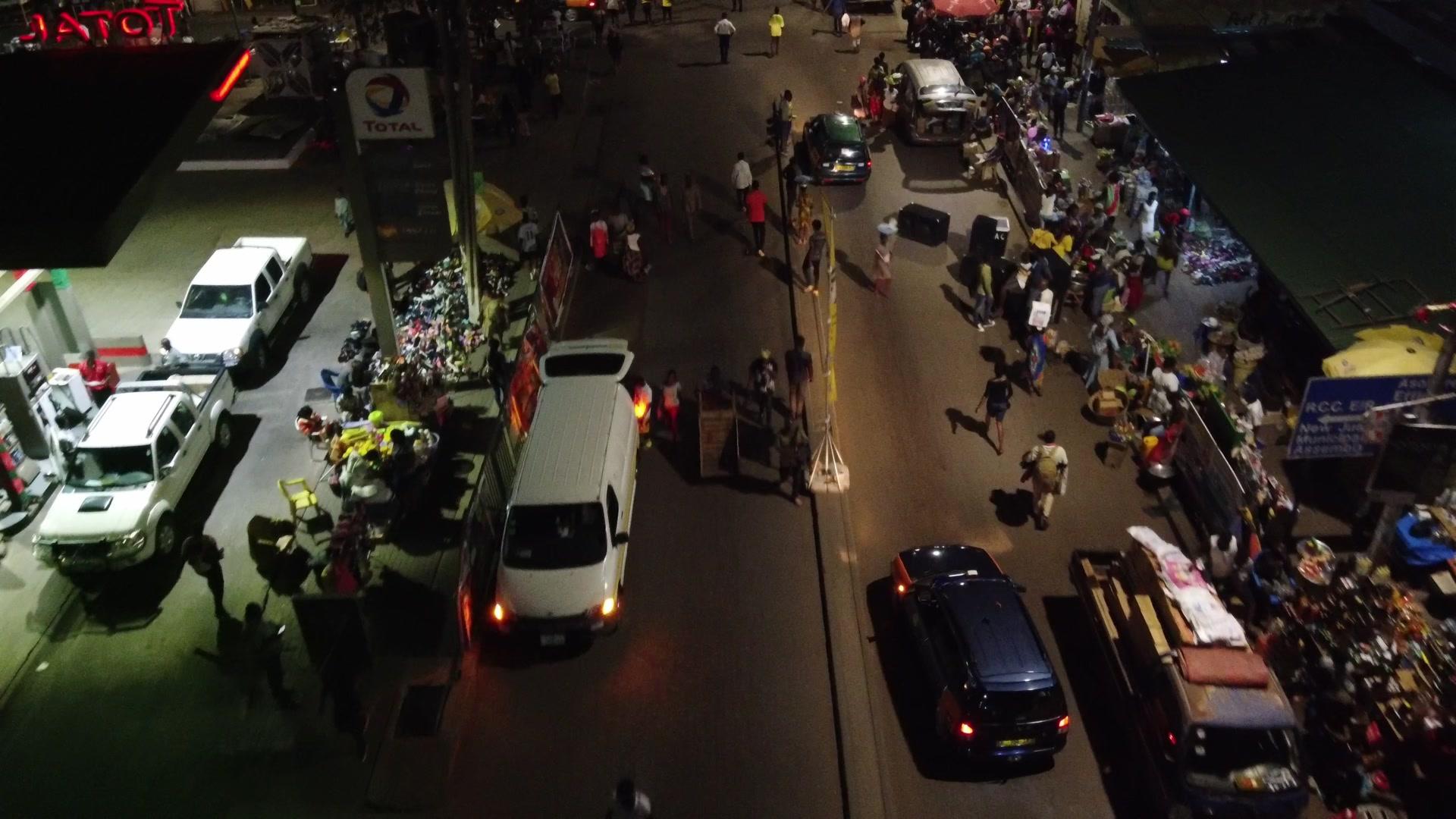 Koforidua Busy Road Crowded Traders Shopping