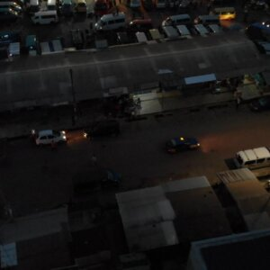 Koforidua Central Business District Traffic Cars Night All Nations University Top Down View