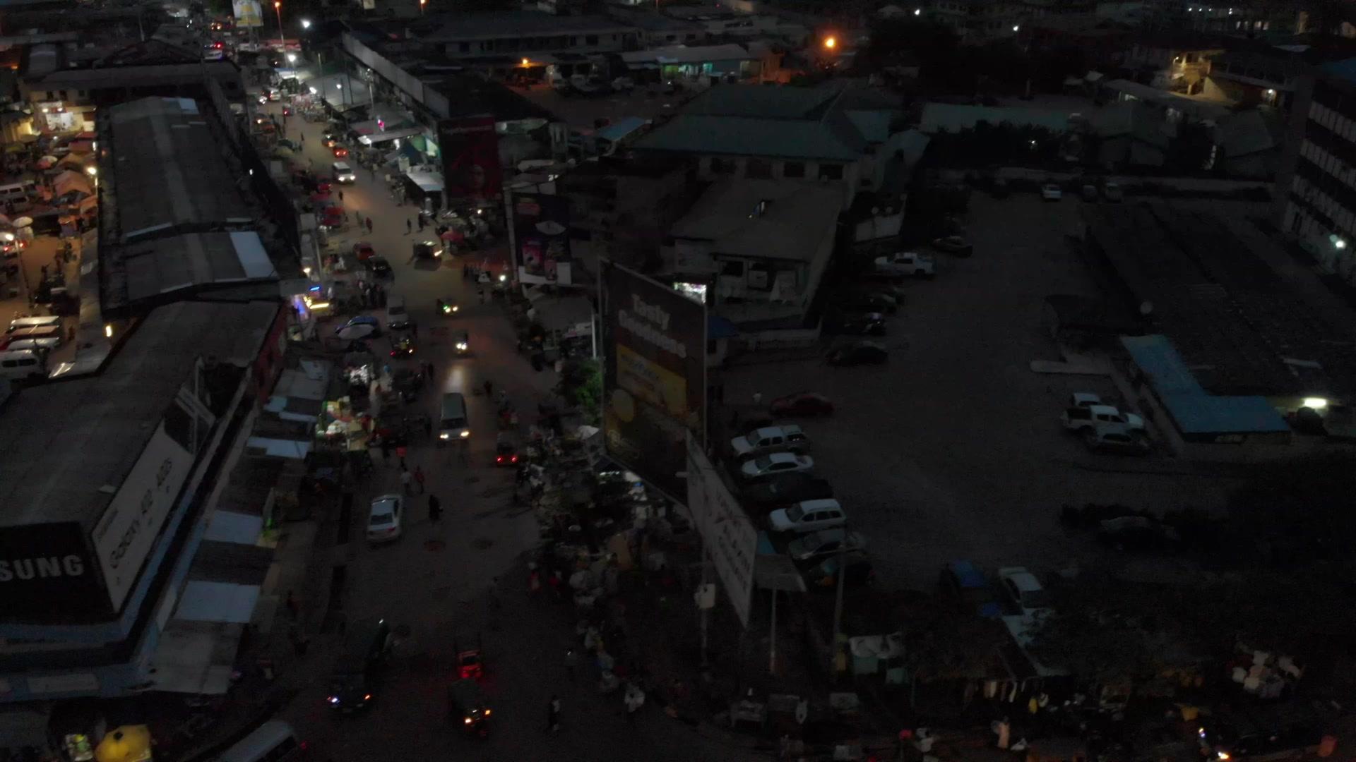 Koforidua Central Business District Traffic Cars Night
