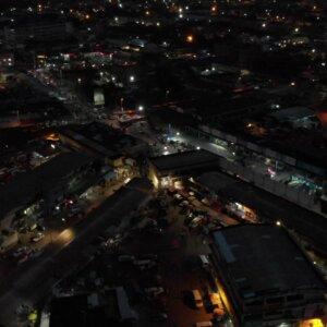 Koforidua Cityscape Night Flyover Scene 2
