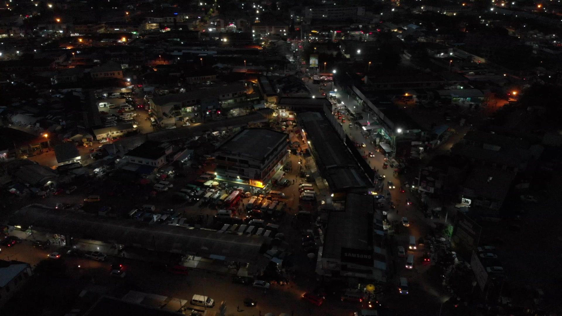 Koforidua Cityscape Night Flyover