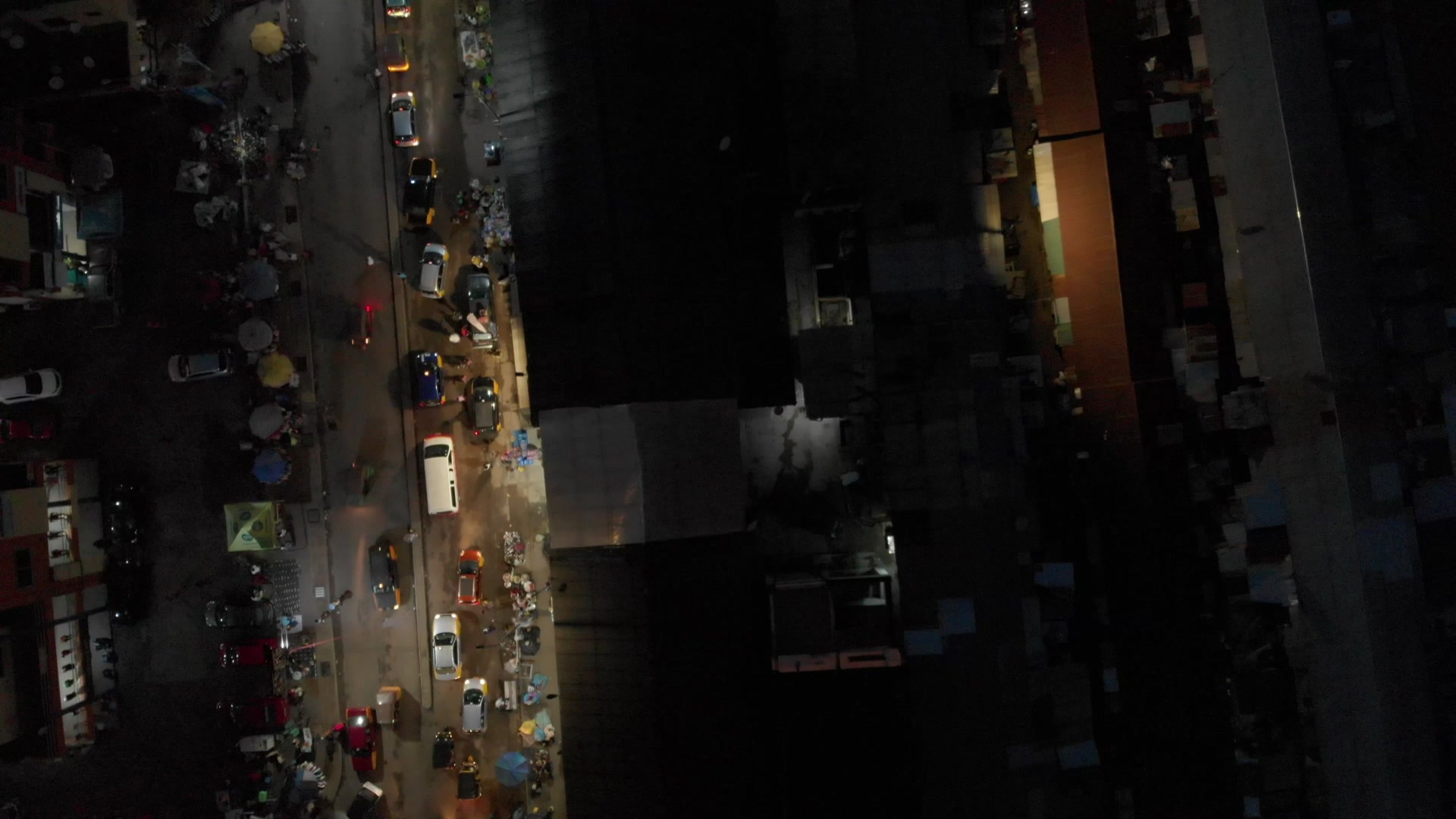Koforidua Cityscape Night Top Down View