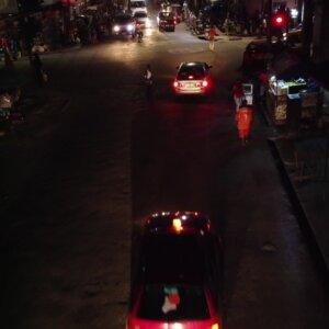 Koforidua Intersection Cars Traffic Light Night