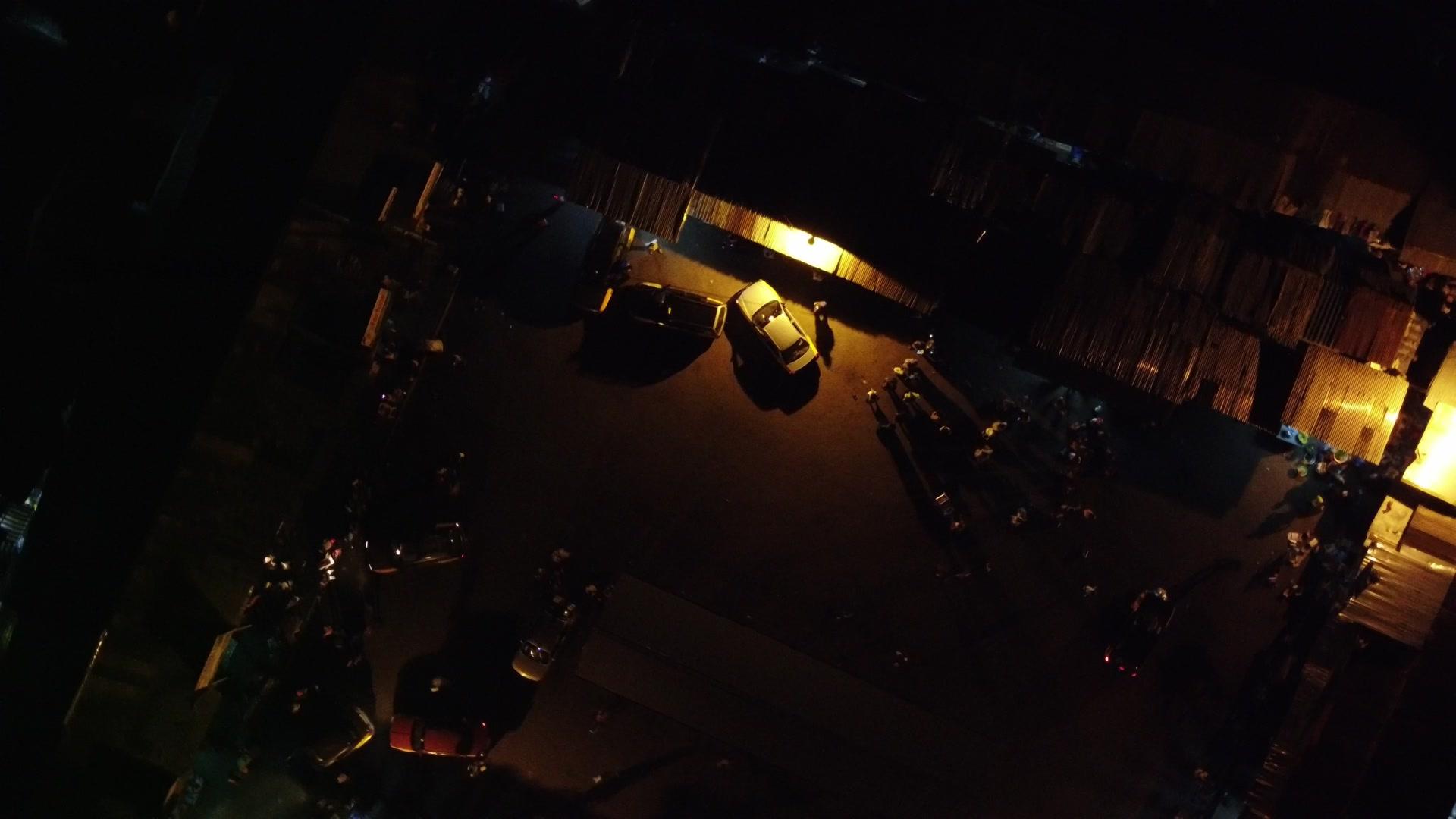 Koforidua Taxi Rank Night Top Down View Spin
