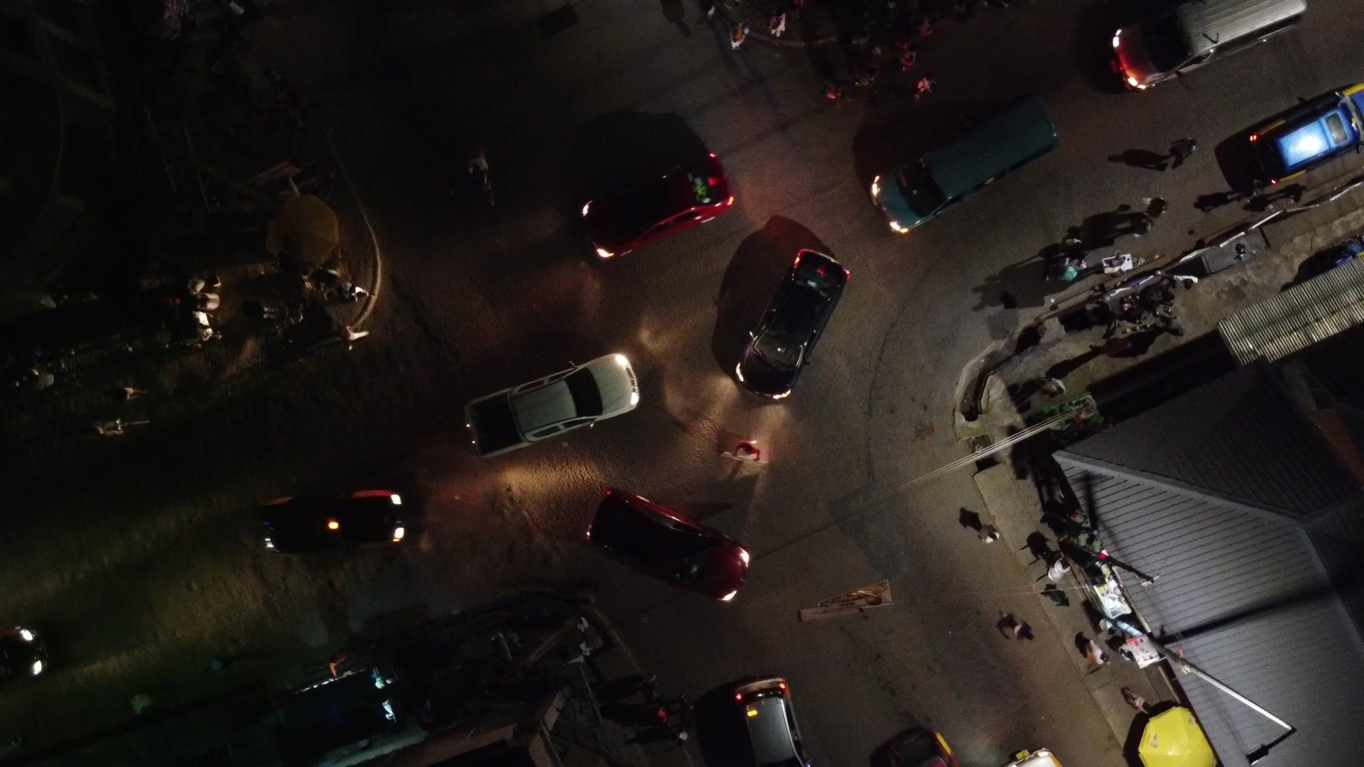 Koforidua Top Down View Intersection Cars Traffic Light Night Reveal Township