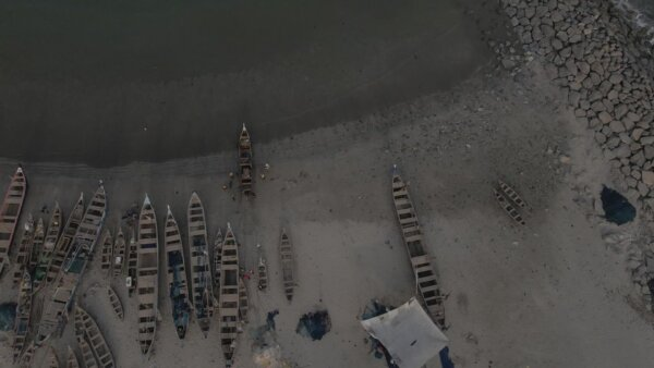 Ocean Beach Shoreline Boats Fishermen Waves Full Video